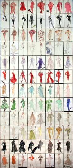 design sketches at Halston