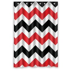 Charming Red, Black And White Chevron Shower Curtain For Great Bathroom Decor. Love  The Red Accent! #bwchvshower | Forever Red   Red Is Great | Pinterest | Red  ...