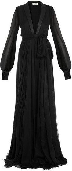 Le Smoking Full Length Gown  Saint Laurent #wishlist #black #gown #sofisticated #chic #elegant #saintlaurent Trouve a lyst.com