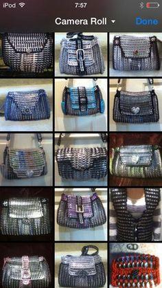 From Pop Top Crochet Crochet Rings, Crochet Clutch, Pop Top Crochet, Pop Top Crafts, Pop Tab Purse, Grey Bags, Pop Can Tabs, Soda Tabs, Pop Cans