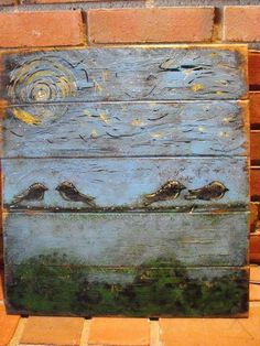 Birds on a Wire: a primitive, acrylic painting on wood paneling.. $25.00, via…