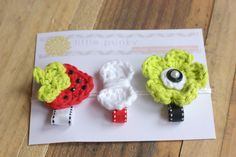 "Crochet Strawberry - Crochet Hair Clip, Crochet Hair Bow, Baby Hair Clip, Girls Hair Bow Clip - ""little Strawberry"""