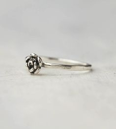 Tiny Rose Sterling Silver Stacking Ring by 36ten on Scoutmob