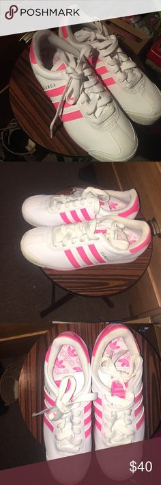 Adidas sneakers Pink and white Adidas Samoa size 7.5 worn once! Great condition Adidas Shoes Sneakers
