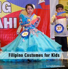 turquoise gown - Filipiniana costume - traditional filipino costumes for kids - Araw ng Lahi Filipiniana Dress, Kids Gown, Filipino, Parenting, Turquoise, Gowns, Costumes, Traditional, Disney Princess