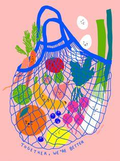 Inclusive Groceries I, an art print by Subin Yang - INPRNT Contemporary art Art And Illustration, Illustration Design Graphique, Food Illustrations, Friends Illustration, Vegetable Illustration, Kunst Poster, Arte Sketchbook, Grafik Design, New Wall