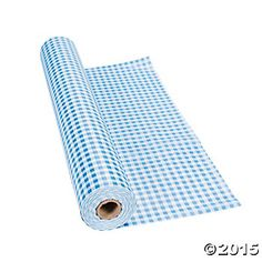 Plastic Blue Gingham Tablecloth Roll