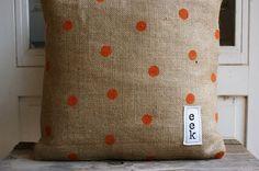 Halloween Pillow - burlap with painted orange dots.  Love it.