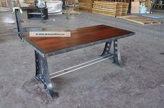 Furniture Vintage Industrial Desk Machine Base Dining Table 45