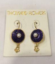 Thousand Flowers Vintage NOS Enamel Vermeil 925 Earrings With Pearls Orig Card