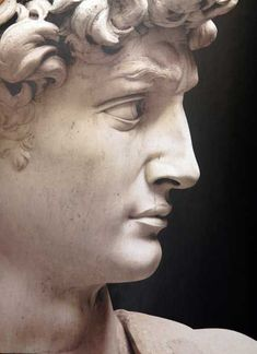 Detail of Michelangelo's David, sculpted between 1501-1504. Marble. Located in the Galleria dell'Accademia, Florence, Italy. Photo found on Pinterest, but ultimate source unknown. ""