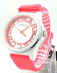 MMBM4016 MARC BY MARC JACOBS Pink Silicon Strap Henry Skeleton Womens Watch #MarcbyMarcJacobs #Fashion