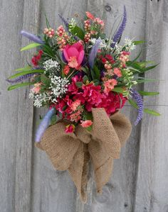 Country English Garden Wall Bouquet by NewEnglandWreath-Love it! Except the bow would be a pink satin one.