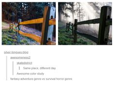 Awesome color study amasy adventure genre vs survwa horror genre popular memes on the site 853009985656302198 Tumblr Funny, Funny Memes, Hilarious Quotes, A Silent Voice, Color Studies, Pics Art, Tumblr Posts, Writing Inspiration, Samar