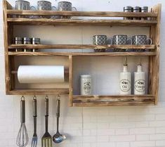 17 Fabulous Spice Rack Ideas 2020 (A Solution for Your Kitchen Storage) Keep your everyday ingredients within reach, and make sure spices are arranged and easy to find in a flash. That's why you need spice rack ideas. Wall Spice Rack, Diy Spice Rack, Kitchen Spice Racks, Spice Shelf, Diy Kitchen Storage, Diy Storage, Storage Ideas, Spice Storage, 7 Spice