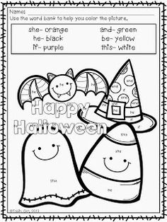 Color Me Spooky- October coloring sheets $