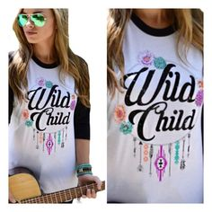• Wild Child Tee • For the free spirited wild child, this black and white baseball tee is perfect for a casual outing! Cotton material. Please DO NOT purchase this listing. Comment below and I'll make a listing for you. Jennifer's Chic Boutique  Tops
