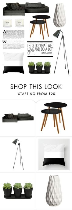Living Room - Black by by-jwp on Polyvore featuring interior, interiors, interior design, home, home decor, interior decorating, Moe's Home Collection, NEOM Organics and living room