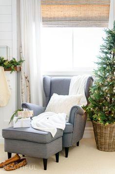 A cozy neutral Christmas bedroom full of farmhouse charm