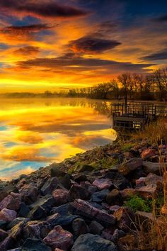 Fall Sunrise reflections at Lake Ladora in Denver | nature | | reflections | #nature https://biopop.com/