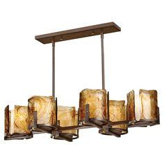 "Aris Collection 6-Light 37"" Roman Bronze Island Chandelier with Amber Swirl Art Glass F2690/6RBZ"