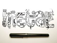 Metal Brush Pen Typography by Jetpacks and Rollerskates