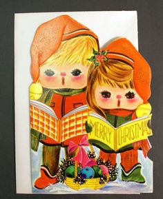 1970s Vintage Carolers Christmas Card by BettyJanesTreasures, $6.50