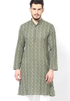 If you are fond of wearing ethnic outfits, then this green coloured kurta from Parikrama will be a great pick.