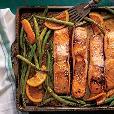 January 2016 Recipes: Honey-Soy-Glazed Salmon with Veggies and Oranges