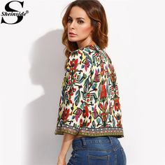 edc31982fc0 Sheinside Embroidery Outerwear Winter Tribal Print Office Ladies Women Coats  and Jackets Vintage Autumn Long Sleeve Coat