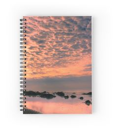 Cloud Illuminations - Notebook #notepad #notebook #sprial #stationery #pad #paper #student #sunrise #sunset #rocks #sea #ocean #clouds