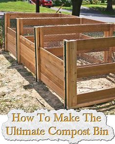 Get the compost bin plans for this three-crate system that will shave weeks off your composting process. Build these DIY compost bins using wood and chicken wire. Build Compost Bin, Homemade Compost Bin, Kitchen Compost Bin, Garden Compost, Vegetable Gardening, Veggie Gardens, Composting Process, Yard Waste, Organic Gardening Tips