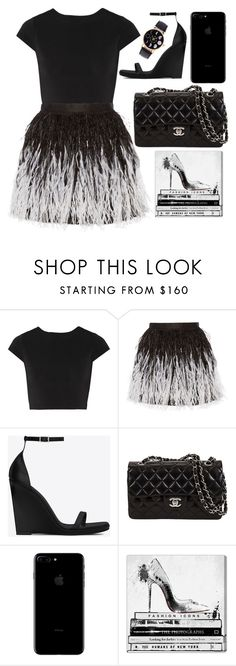 """""""Black Swan"""" by cherieaustin ❤ liked on Polyvore featuring Alice + Olivia, Yves Saint Laurent and Oliver Gal Artist Co."""