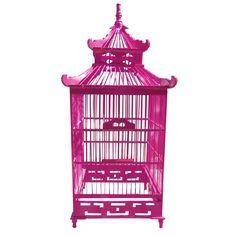 "CHINOISERIE DECORATIVE BIRDCAGES in red or pink ... would make a cool lamp!    Wood Pagoda style decorative bird cage. 23.5""x 9.25"" x 9.25""."