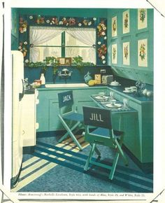 This is a small space alright - vintage/retro Armstrong Flooring ad. Mid Century Art, Mid Century Decor, Mid Century Furniture, Aqua, Teal, Turquoise, Armstrong Flooring, Modern Houses, Feng Shui