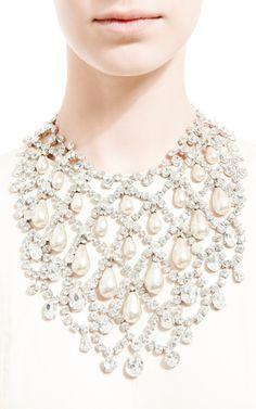 Vintage Schreiner and Faux Pearl Bib Necklace by Carole Tanenbaum