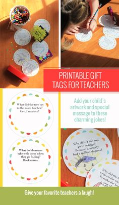 8 printable gift tags for teachers with charming school jokes. Your child adds a drawing or a note to top off a teacher appreciation present! Never too late to #thankateacher | ParsCaeli.com