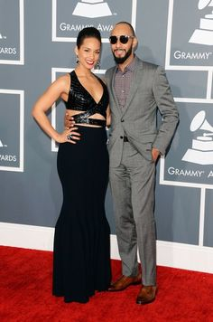 See All the Stars Arriving on the Grammys Red Carpet: Alicia Keys hit the red carpet with husband Swizz Beatz for the Grammys.