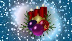 Świąteczna, Kompozycja, Boże Narodzenie, Trzy, Czerwone, wieczki, Bombki, Grafika 2D