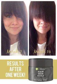 It works hair Skin&Nails! 1 week results! Question call/text 520-840-8770 http://bodycontouringwrapsonline.com/it-works-products/it-works-hairskin-nails
