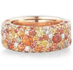 Ring, Orange Saphire 2.02tcw, Yellow Saphire 1.52tcw, Colored Dia .46tcw, White Diamond .71tcw, 18Kt Rose Gold, Size 6.75