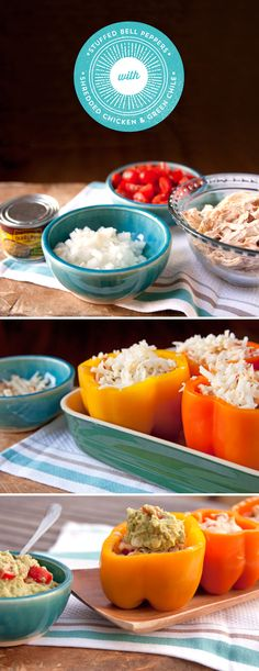 Need a fun idea for your leftover chicken? Shred it, and use it in these Chicken and Green Chile Stuffed Bell Peppers from @muybueno! Mix onion, tomatos and green chiles with shredded chicken for a mild spice, then fill the peppers and bake for a fun and tasty meal - ready in just 35 minutes!