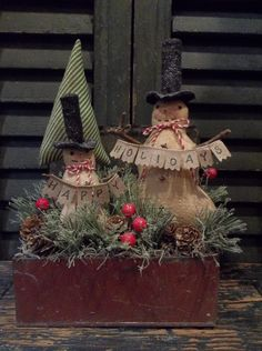Primitive Christmas/Holiday Decoration - Snowmen and Tree in Antique Tin Box