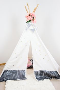 DIY Teepee Kit customized by Jen Evans from Create Often Diy Teepee, Forts, Bold Colors, Hanging Chair, Evans, Toddlers, To My Daughter, Diy And Crafts, Toddler Bed