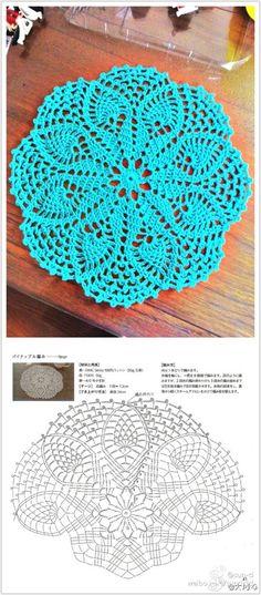 pineapple doily, free pattern #crochet