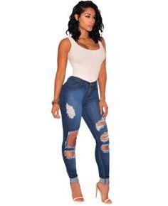 ad34b68e7e3570 Fashion Sexy Cut Hollow High Waist Jeans Womens Ripped Jeans, Denim Jeans, Jeans  Women