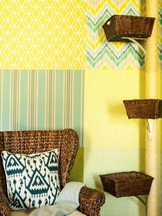 Yellow Corner With Woven Chair & Cat Climbing Post With Baskets