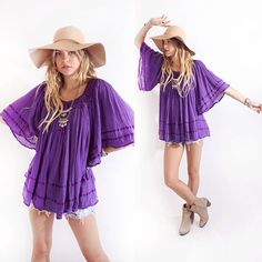Vintage 70s Purple Caftan Tunic Sheer Gauze Boho Hippie Tunic Peasant Top