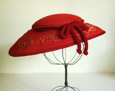 Vintage Hat 1940s Red Picture Hat with Embroidery