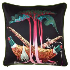 Silk Pheasants and Rhubarb cushion